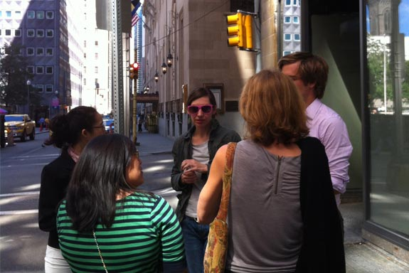 Group meeting to locate the perfect downtown site
