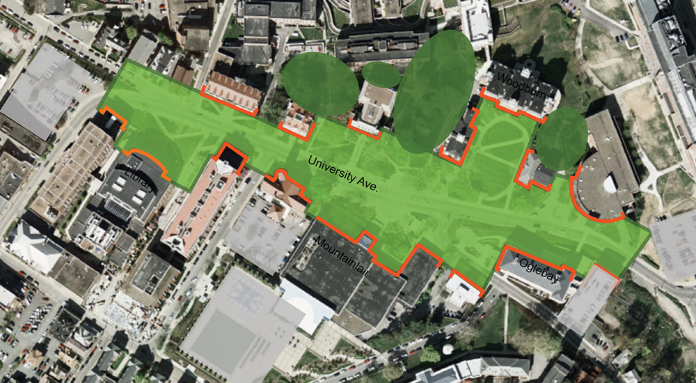 Evansdale Campus Master Plan Strada a cross