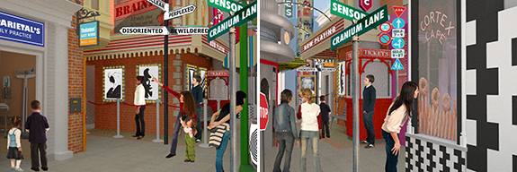 Renderings of bustling Street Scene, designed to befuddle, amaze and delight.