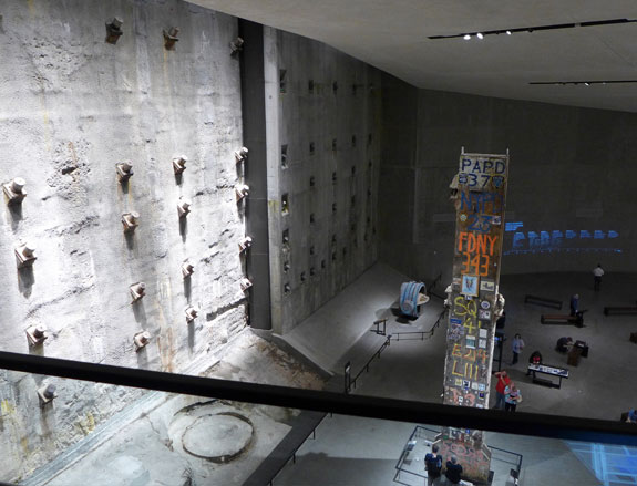 Inside the 9/11 Museum foundations of the former towers are part of the interior