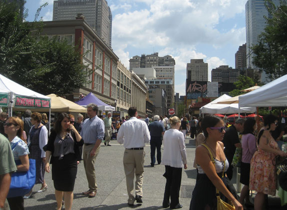 Farmers' Market in the square; Market Square Place beyond at left (photo: Strada)