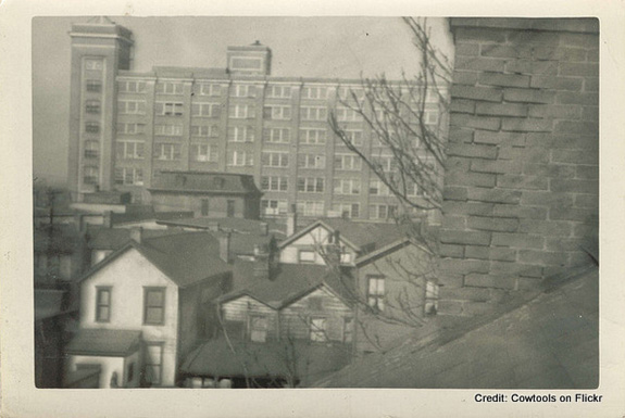 Undated photo looking across the site towards the Nabisco Building, completed in 1918
