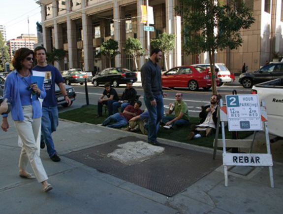 The first PARK(ing) Day sparked a global dialogue. (Photo: http://rebargroup.org/parking/)