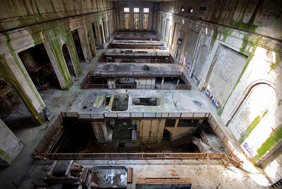Delaware Power Station's Turbine Hall viewed from above