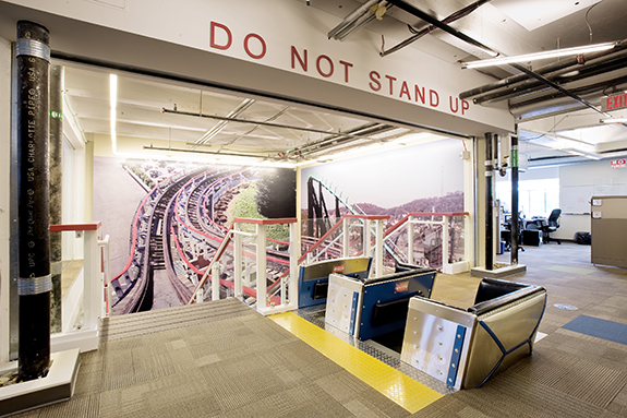 At Google 2.0, the rollercoaster stair brings drama and fun into an office space, creating a playful atmosphere that mirrors the innovation for which Google is known.