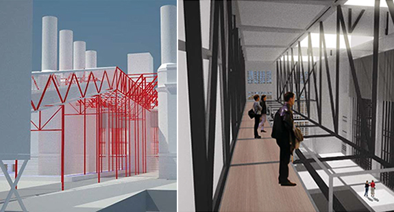 Design renderings showing pedestrian circulation from the waterfront (left) and re-imagined Turbine Hall (right)