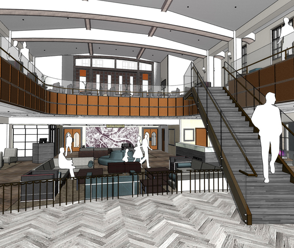 Ornate vaulted beams and original woodwork will create a unique gathering place at the new Distrikt Hotel