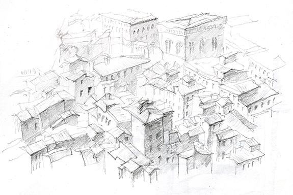 A sketch of neighboring buildings from the cupola at Filippo Brunelleschi's Il Duomo in Florence, Italy.