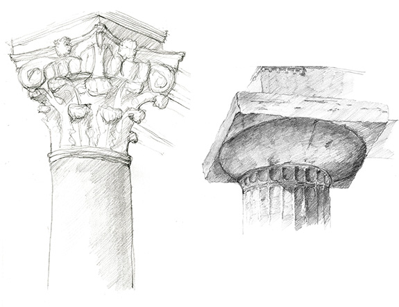 Left: A sketch of a column capital during a cartography class walking tour. Right: A sketch of a column capital at Temple of Hera (over 2,500 years old!) in Paestum, Italy.