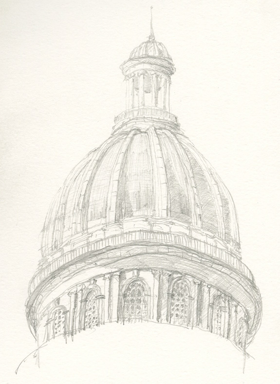 A sketch of El Capitolio's dome in Havana, Cuba. Top image: A sketch of the Pantheon's front elevation from the steps of the Fontana del Pantheon.